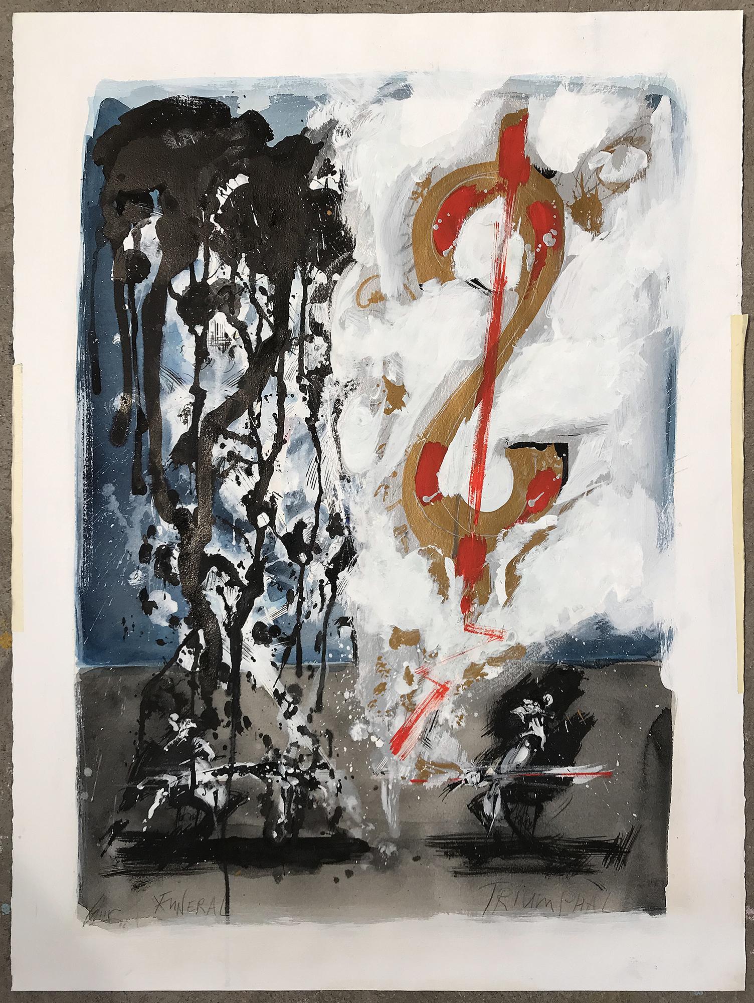 Funeral Triumphal, 2006, Mischtechnik auf Büttenpapier, 62 x 85 cm, ohne Rahmen