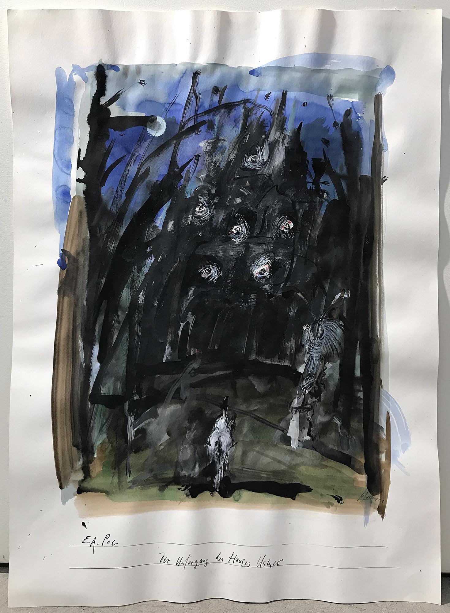 E. A. Poe / Der Untergang des Hauses Usher, Mischtechnik auf Zeichenpapier, 50 x 70 cm, ohne Rahmen