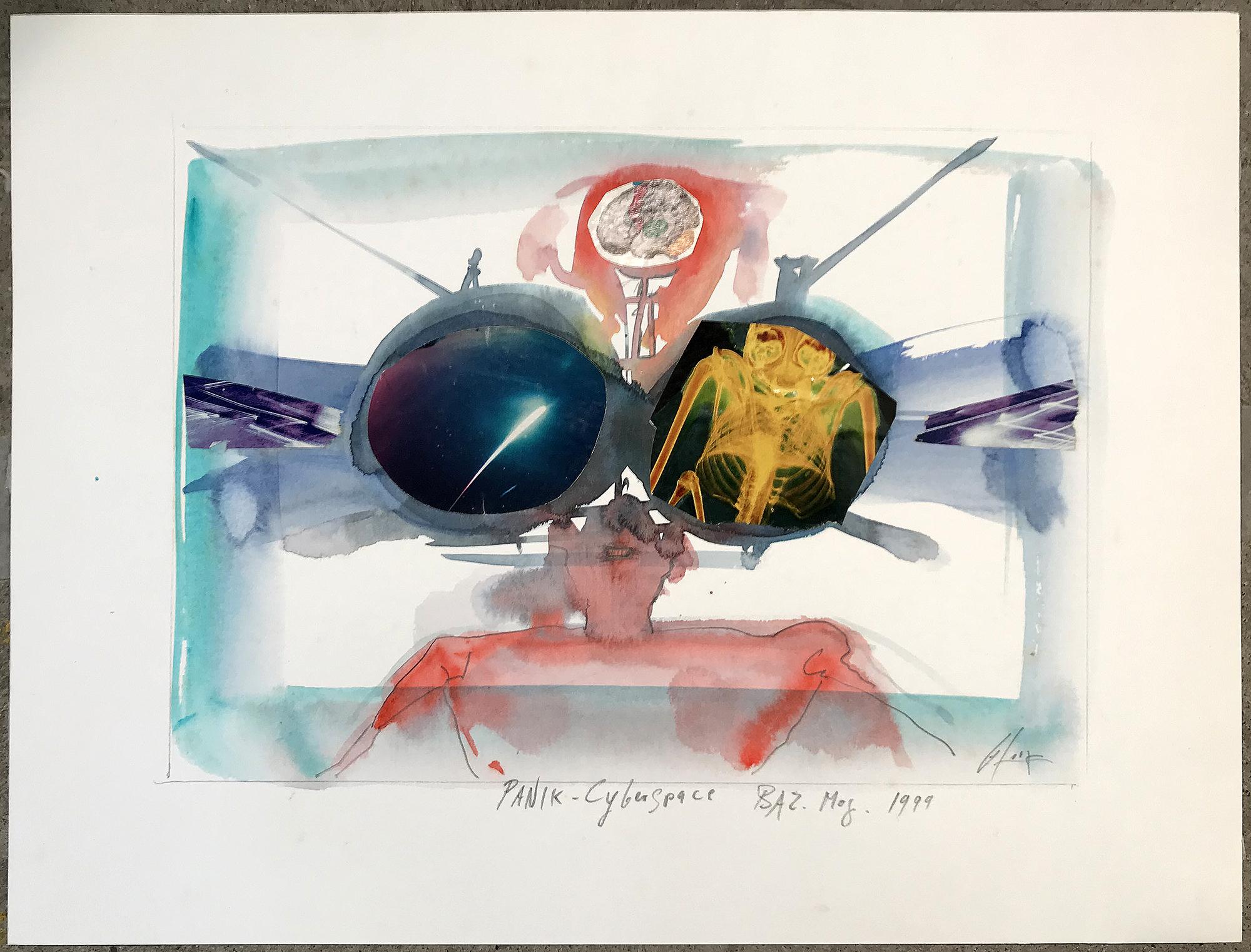 Panik-Cyberspace, 1999, Mischtechnik auf Zeichenpapier, 30 x 21 cm, ohne Rahmen