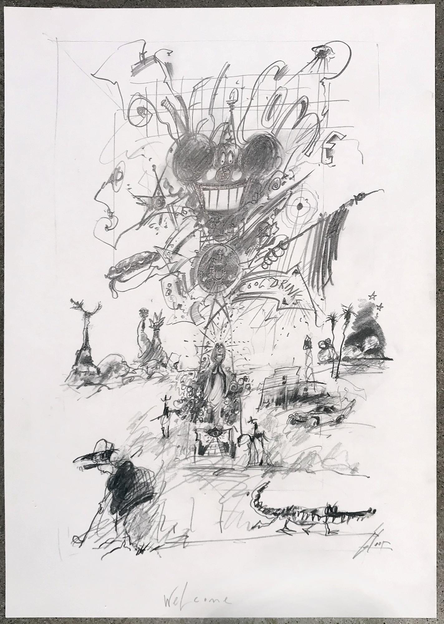 Welcome, 2008, Bleistift auf Zeichenpapier, 21 x 30 cm, ohne Rahmen