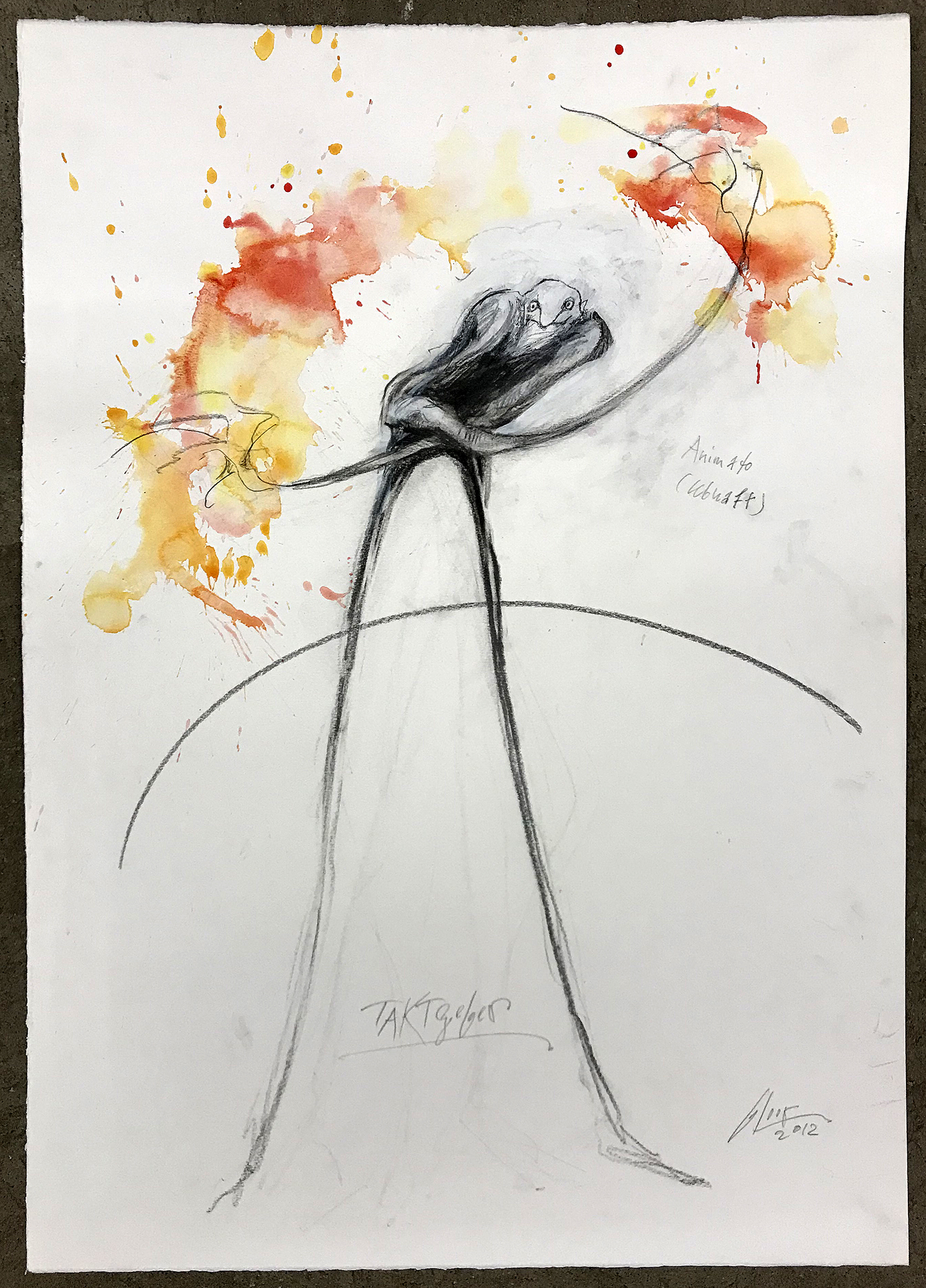 Taktgeber / Animato, 2012, Mischtechnik auf Büttenpapier, ca. 40 x 60, ohne Rahmen