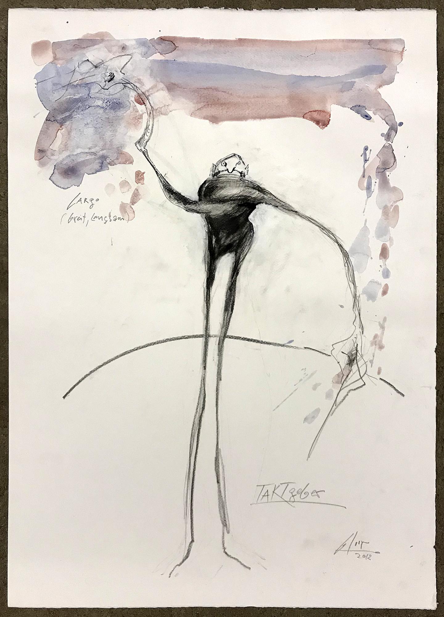 Taktgeber / Largo, 2012, Mischtechnik auf Büttenpapier, ca. 40 x 60, ohne Rahmen
