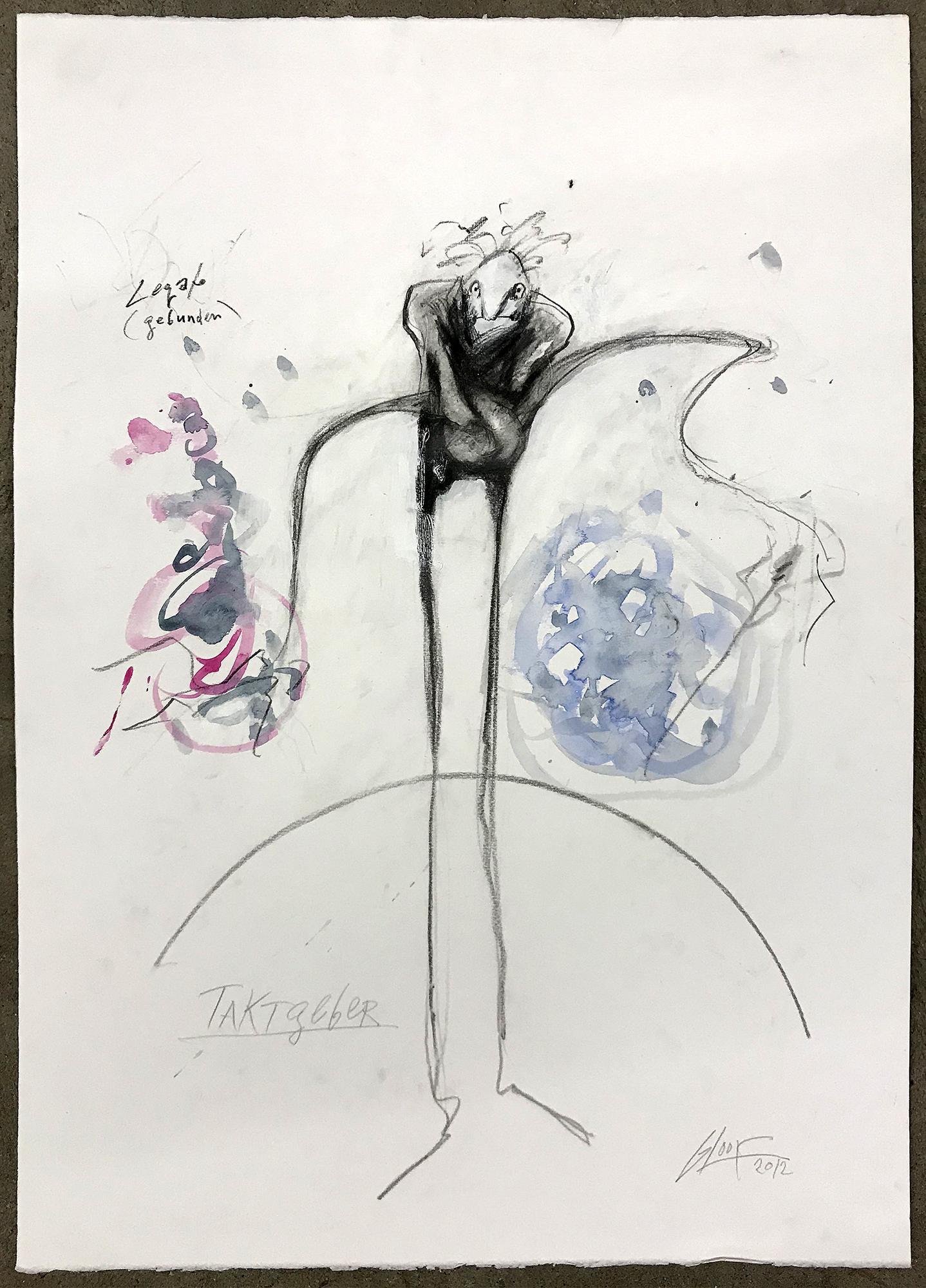 Taktgeber / Legato, 2012, Mischtechnik auf Büttenpapier, ca. 40 x 60, ohne Rahmen