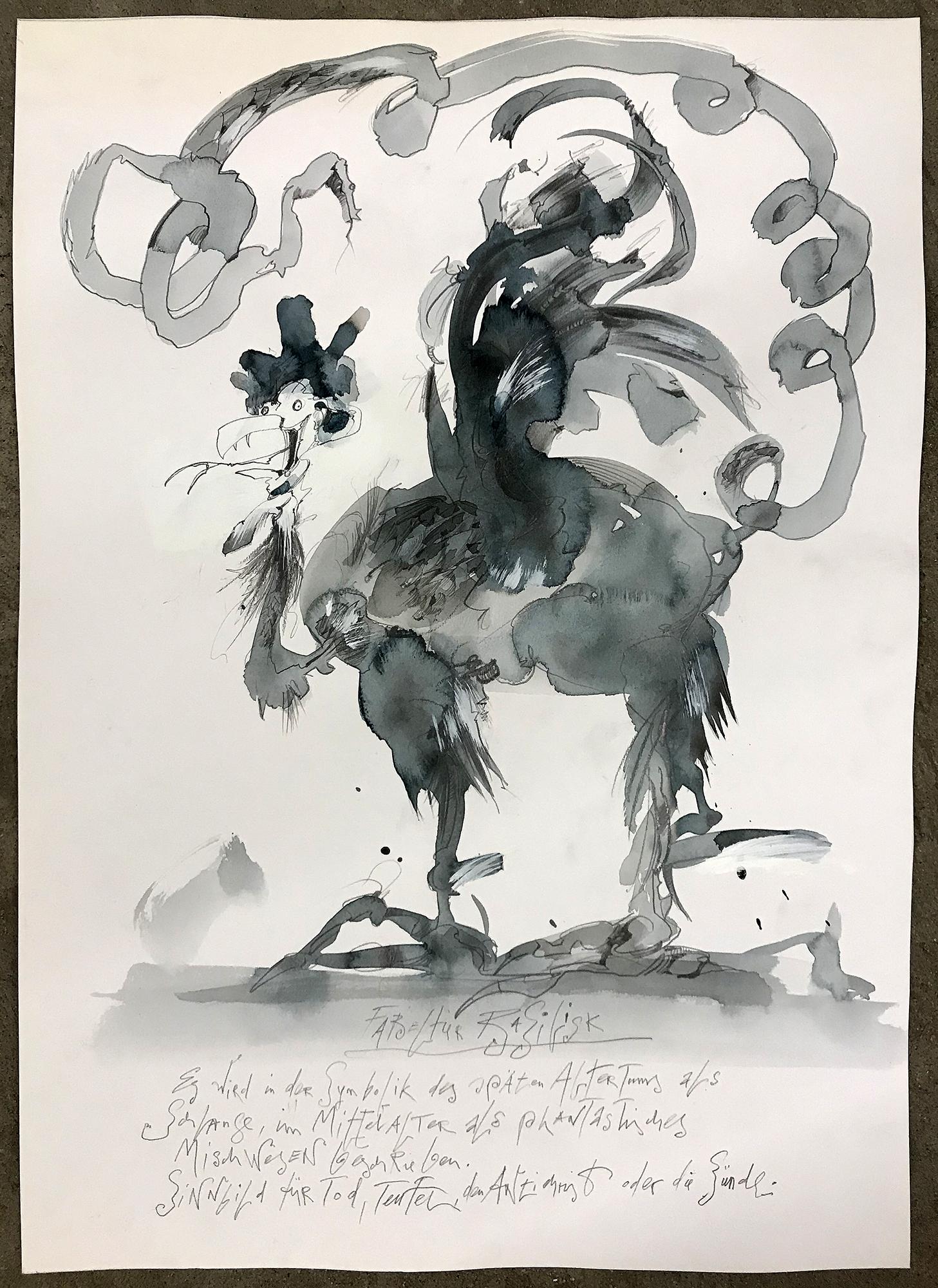 Der Basilisk, 2010, Mischtechnik auf Zeichenpapier, ca. 36 x 54, ohne Rahmen