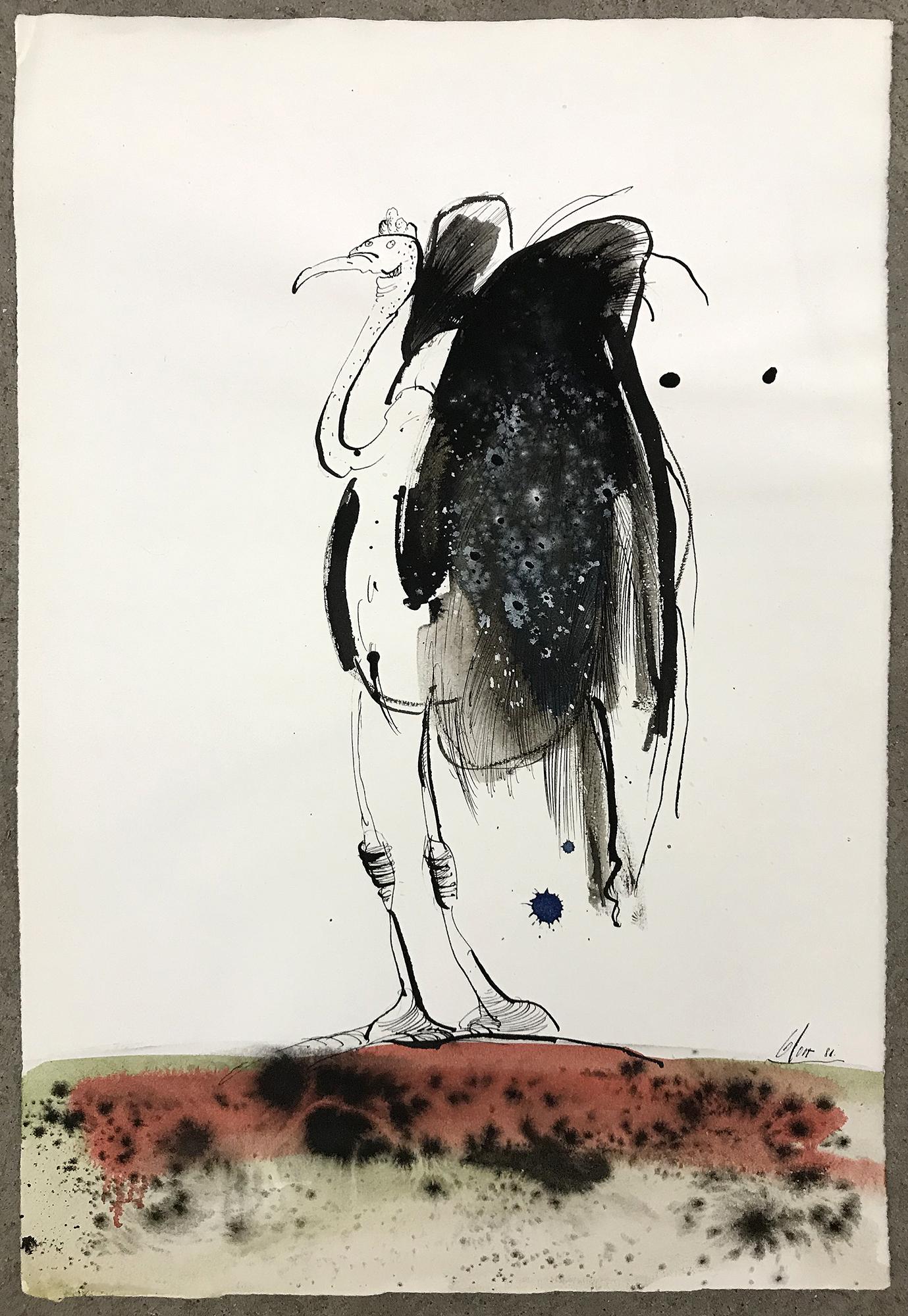 Truthahn, 1986, Tusche auf Büttenpapier, 32 x 45 cm, ohne Rahmen