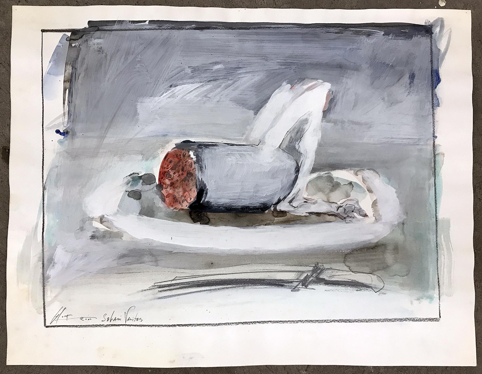 Salami Vanitas, 2000, Mischtechnik auf Zeichenpapier, 50 x 38 cm, ohne Rahmen