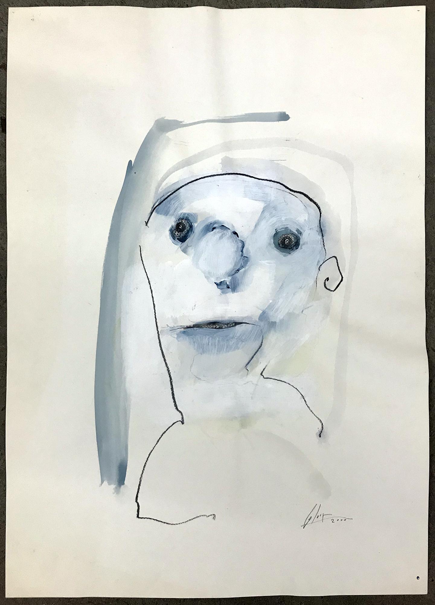 Porträt, 2000, Mischtechnik auf Zeichenpapier, 40 x 60 cm, ohne Rahmen