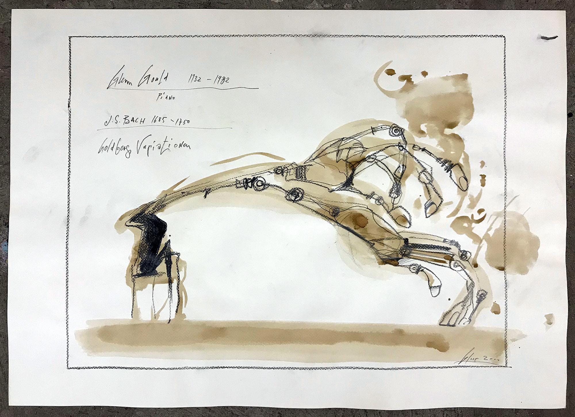 Goldberg Variationen, 2011, Bleistift und Gouache auf Zeichenpapier, 70 x 50, ohne Rahmen