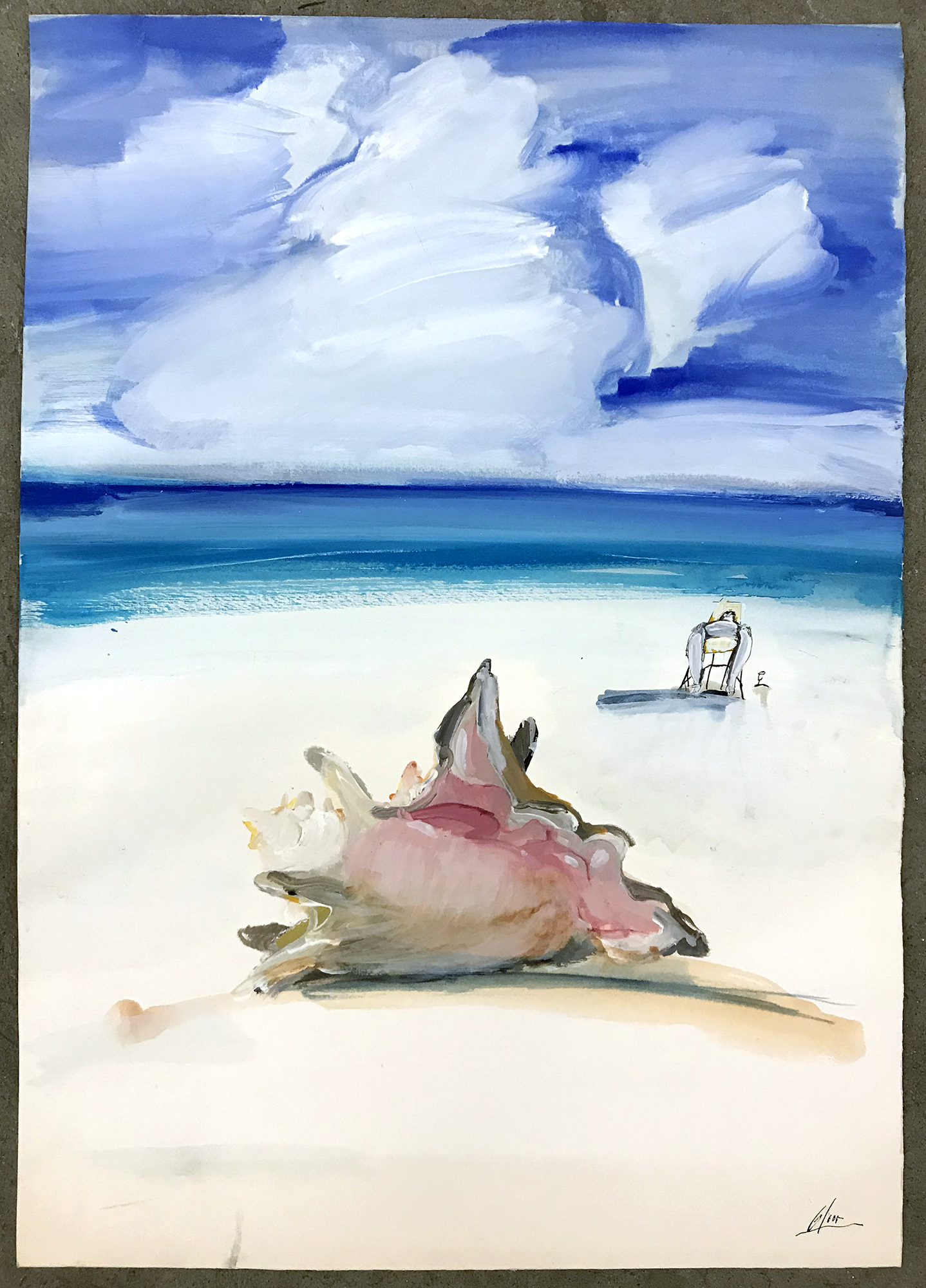 The Beach, o.D., Mischtechnik auf Büttenpapier, 50 x 70 cm, ohne Rahmen