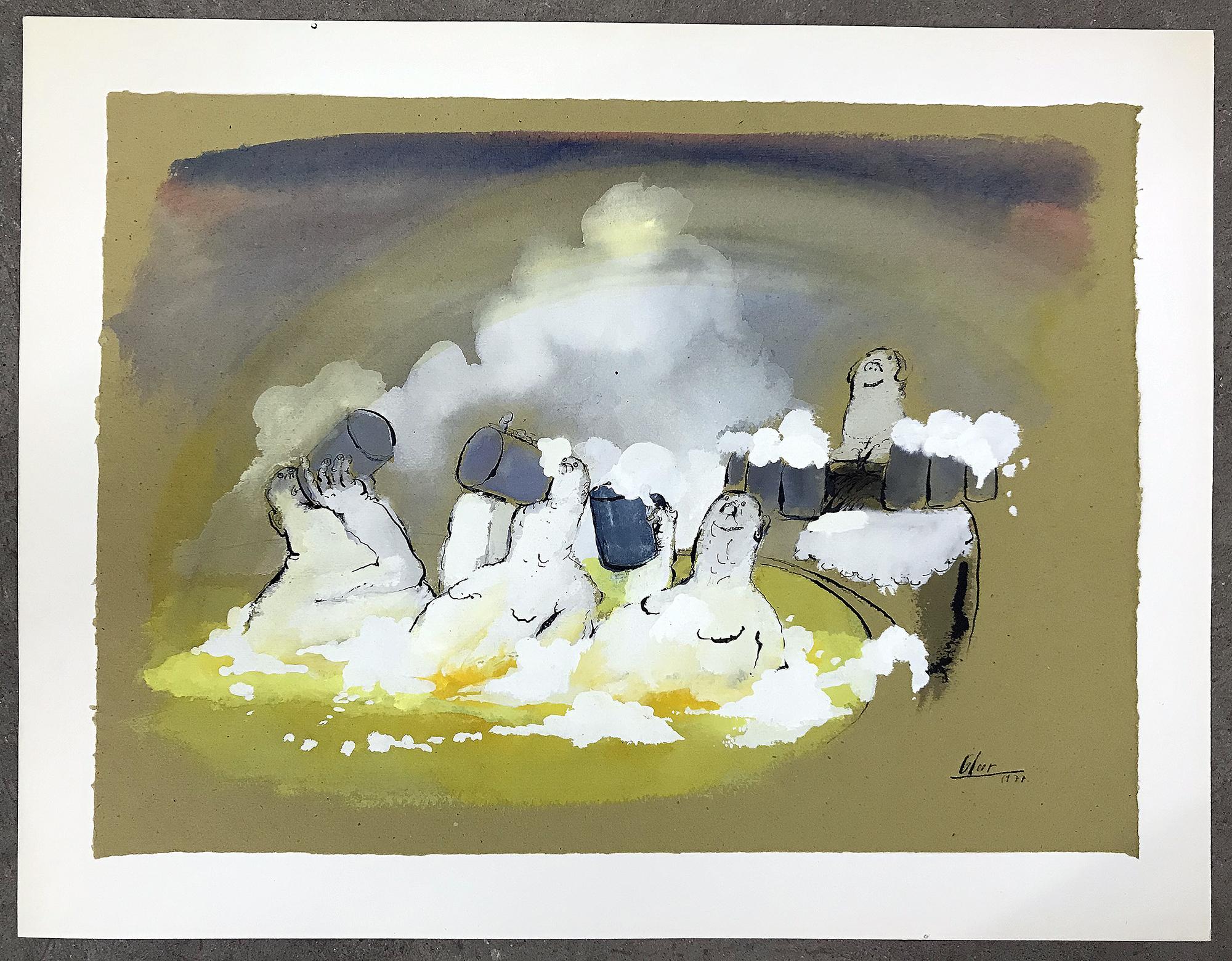 Bierbad, 1977, Mischtechnik auf Büttenpapier, 57 x 50 cm, ohne Rahmen