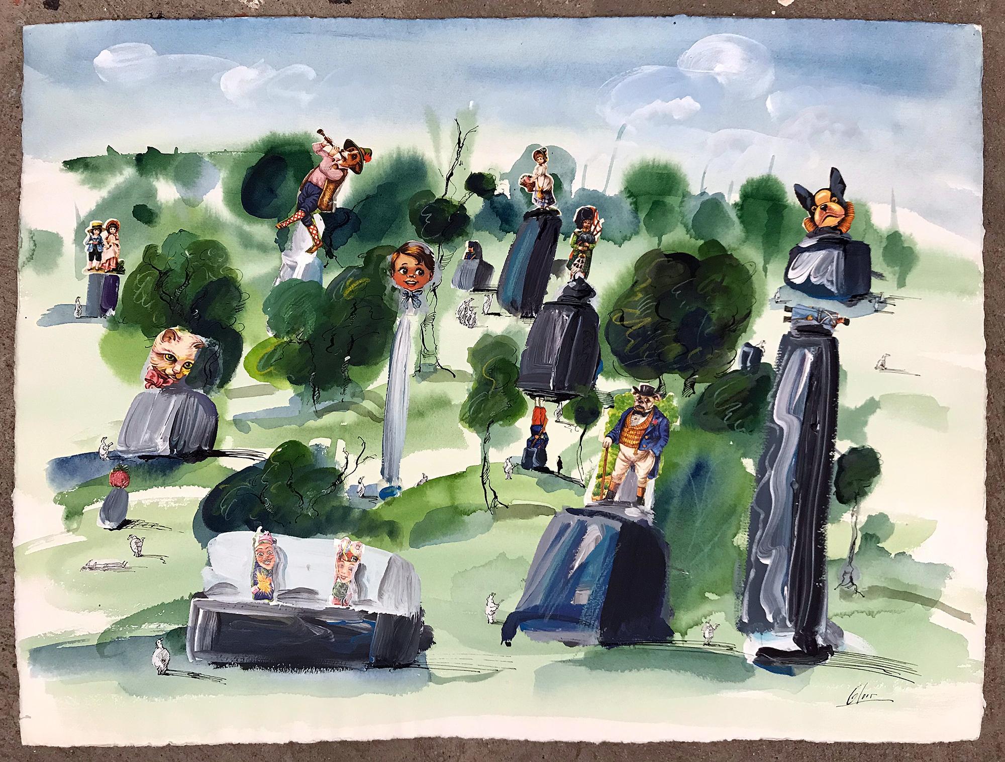 Denkmäler im Park, o.D., Mischtechnik auf Büttenpapier, 54 x 40 cm, ohne Rahmen