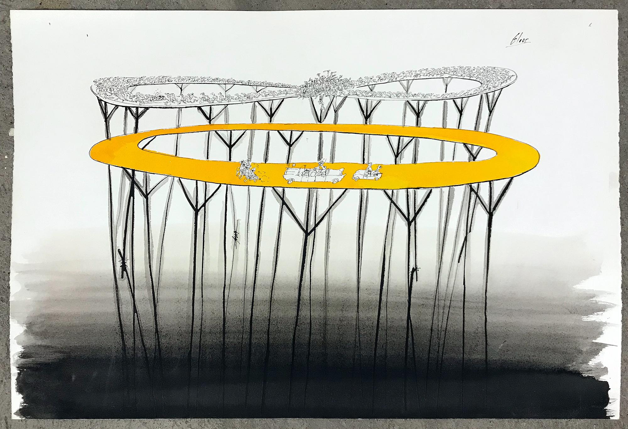 Kreiselverkehr, o.D., Mischtechnik auf Papier, 50 x 33 cm, ohne Rahmen