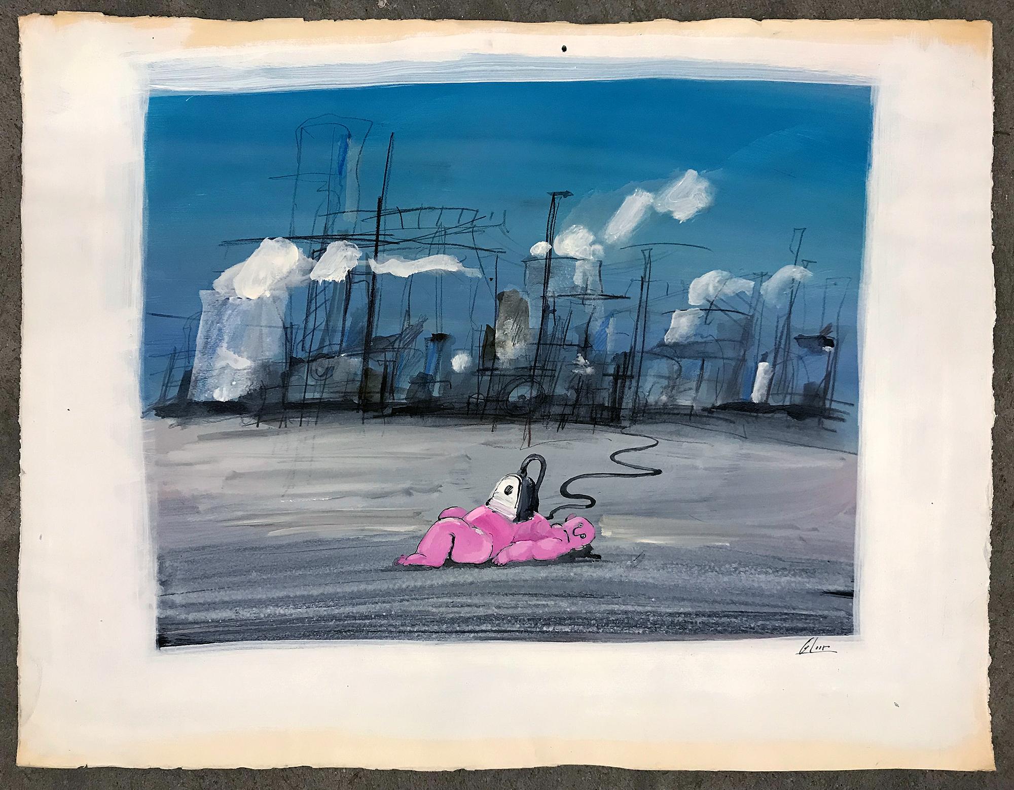 Ohne Titel / Unter Strom, o.D., Mischtechnik auf Papier, 73 x 56 cm, ohne Rahmen