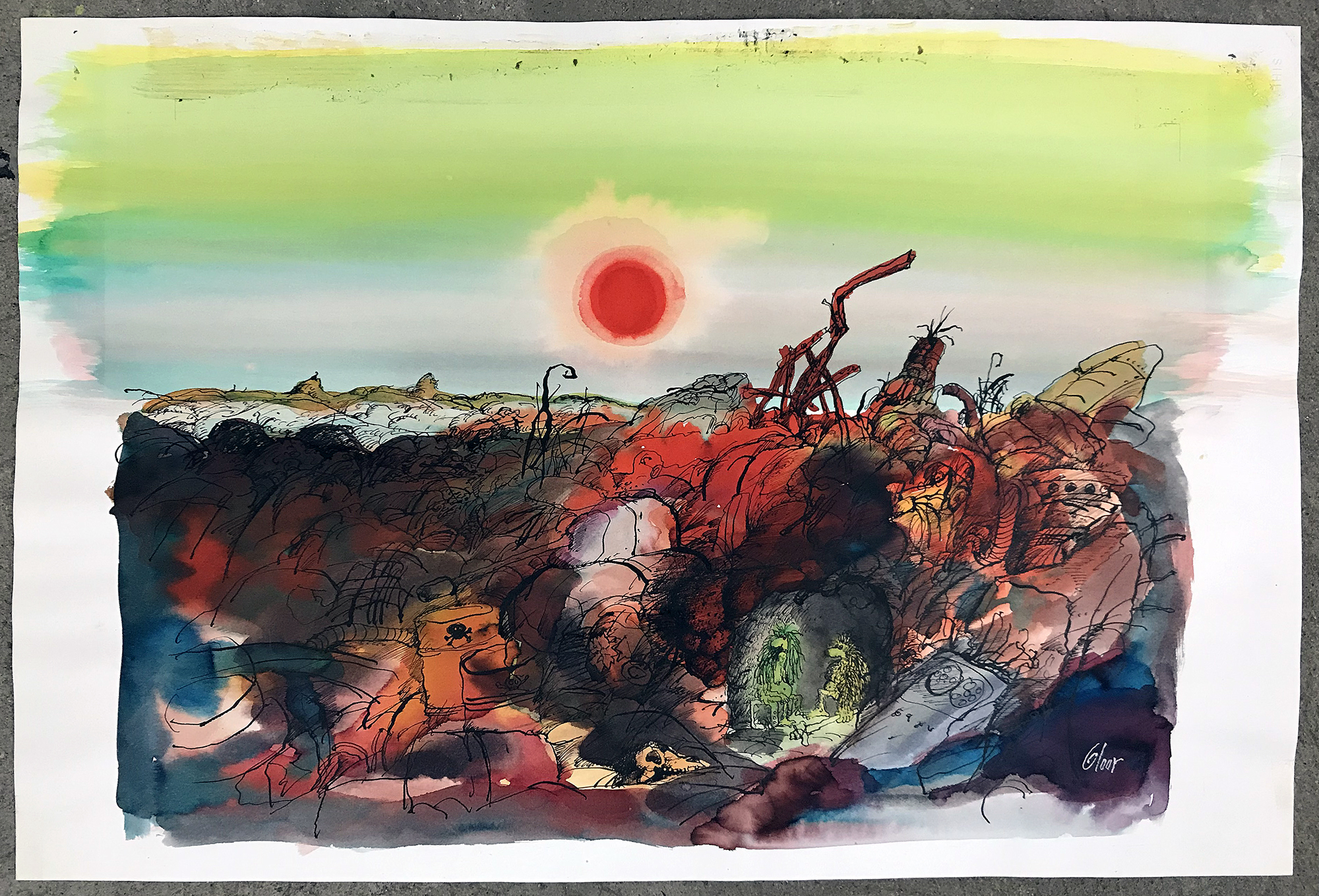 Ohne Titel / Weltuntergang, o.D., Mischtechnik auf Papier, 57 x 38 cm, ohne Rahmen