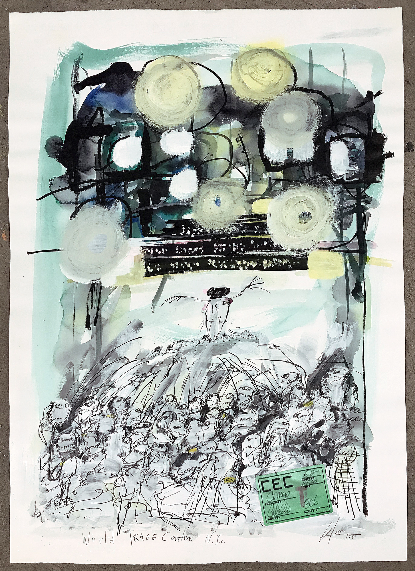 World Trade Center, 1990, Mischtechnik auf Papier, 50 x 70 cm, ohne Rahmen