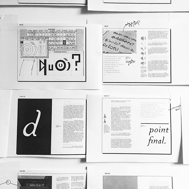 Grand plaisir de ce moment où le rythme du livre prend forme sur le mur / Hardly working on our next book final layout (the easiest part of the job): Pierre di Sciullo | The Afternoon of a Phonem. #comingsoonsoon #typography #bookonbooks #graphicdesign #layout #joy  Feat. @pierredisciullo (!) @grandensemble @sandrachamaret  @fred_duboscq @smnrnd + Thx @_0.37 @droitderegardarles