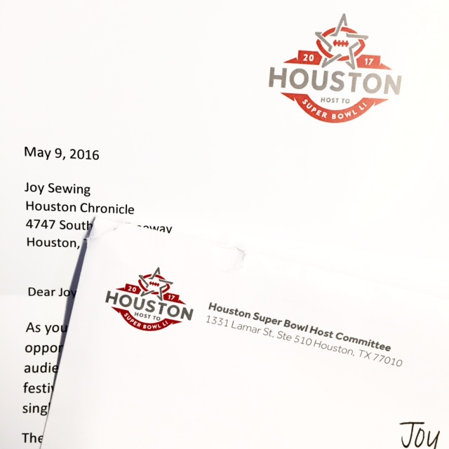 I've been selected to be on the media committee for the Houston Super Bowl Host Committee, which is the organization in charge of the Super Bowl in Houston in2017. Not sure what it means, but it sounds pretty cool.  Last time the Super Bowl was in Houston, I was covering it for People magazine. Let's just say, Janet Jackson's nipple-gate kept me very busy.