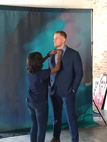 Been trying for three years to get a fashion shoot with J.J. Watt, a defensive lineman with the Houston Texans. He's a great interview, too. Says his mom and girlfriend are the two of the most important women in his life. He eats 375 grams of protein, including a peanut butter and jelly sandwich, EVERY day. Nicest guy. So amazing we pulled this off in less than 12 hrs.  #yearofjoy