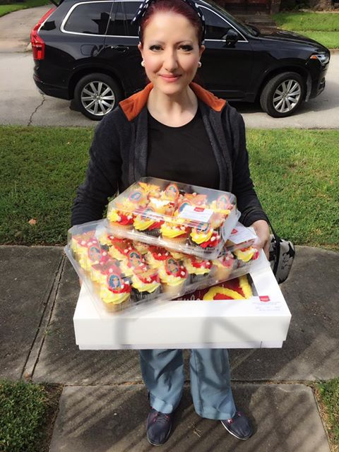 """Yasmine Haddad  is a true Wonder Woman. She dropped off all of this (including Wonder Woman paper goods and books) before heading into work as a dentist.  """"Someone did things like this for me, and they made me who I am today. I know how powerful this is for your girls. I just want to see their smiles,"""" she said.  #yearofjoy   JOY LESSON: Joy is contagious"""