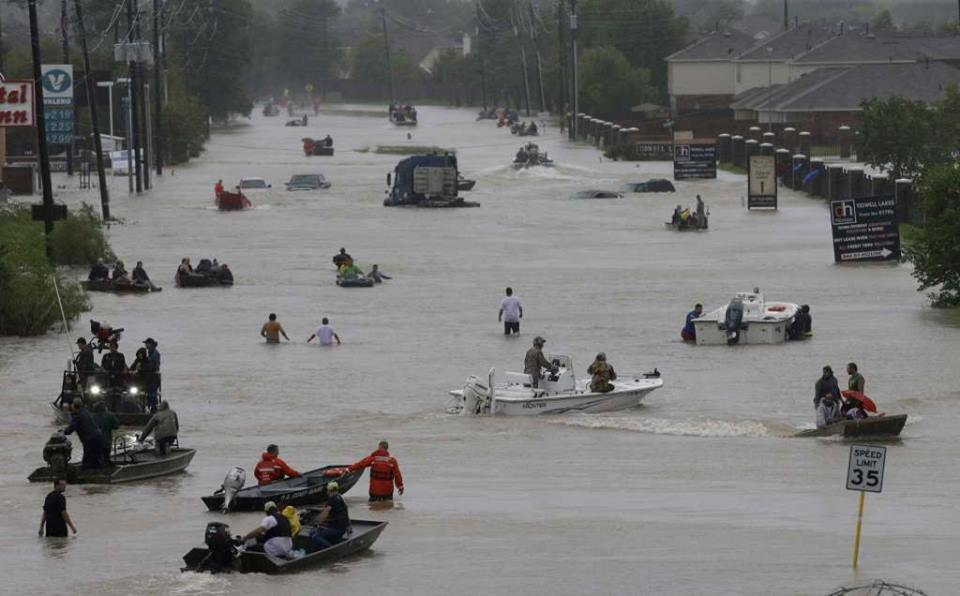 This is a major street in Houston. Hurricane Harvey did this. Devastating.