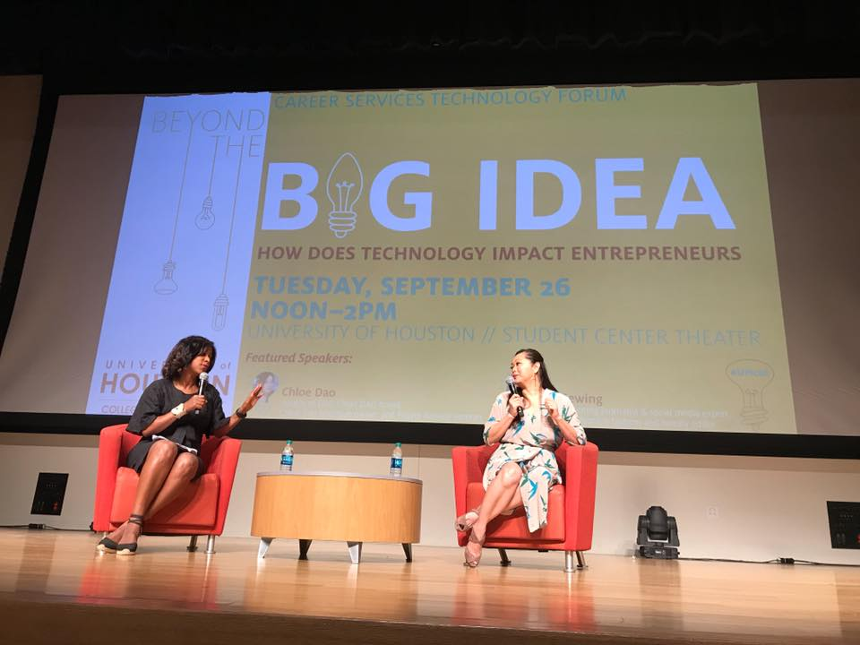 "I""m putting it out in the universe: I want to share #YearOfJoy on a TED Talk stage one day. Universe, are you listening?  Until then, I'm basking in the professional high of today's #BeyondTheBigIdea symposium at University of Houston. Project Runway Season 2 and Houston fashion designer Chloe Dao and I were on stage for an intimate discussion about the fashion and media industries and how technology is changing our world."