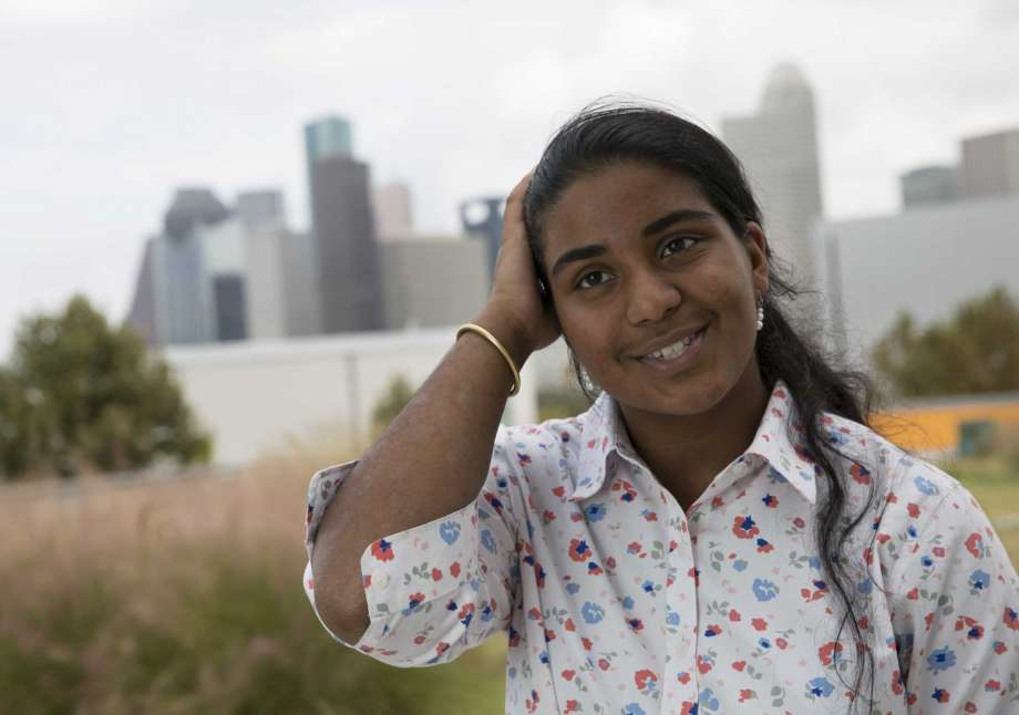 """Rukmini Kalamangalam seemed to summon the moody, gray sky into position as she spoke the first few words of her winning poem, """"After Harvey.""""  Standing on the rooftop garden of her Carnegie Vanguard High School, the 16-year-old senior proved why she's the city's newest youth poet laureate.  Her words told the story of the city's collective headache and fear about the endless rain that fell in the days after Hurricane Harvey.  """"We held our breath. Tried not to imagine what it would feel like to be drowning again,"""" she spoke with a powerful melody.   MORE"""
