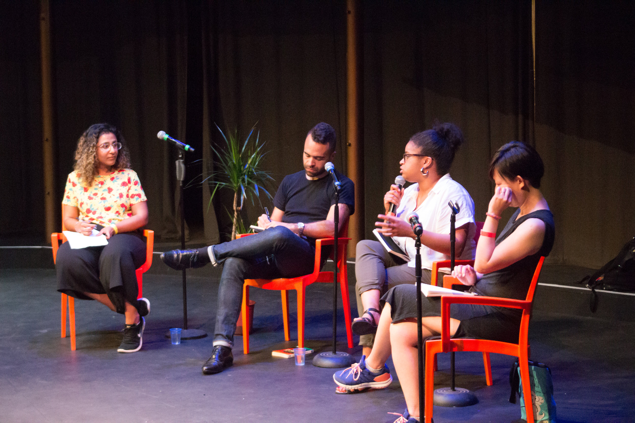 From left: Henna Zamurd-Butt, Marcus Gilroy-Ware, Kelly Foster, Yen Ooi at Bare Lit 2018 (Image by  Sarah Nwafor )