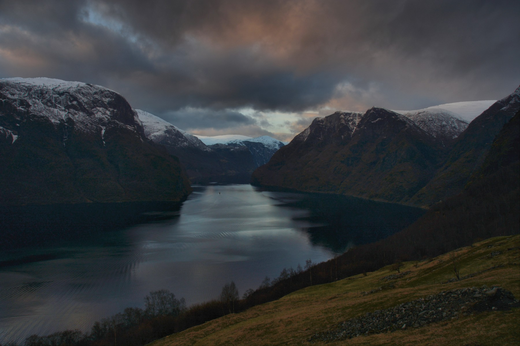 Moody sunset over Aurlandsfjord