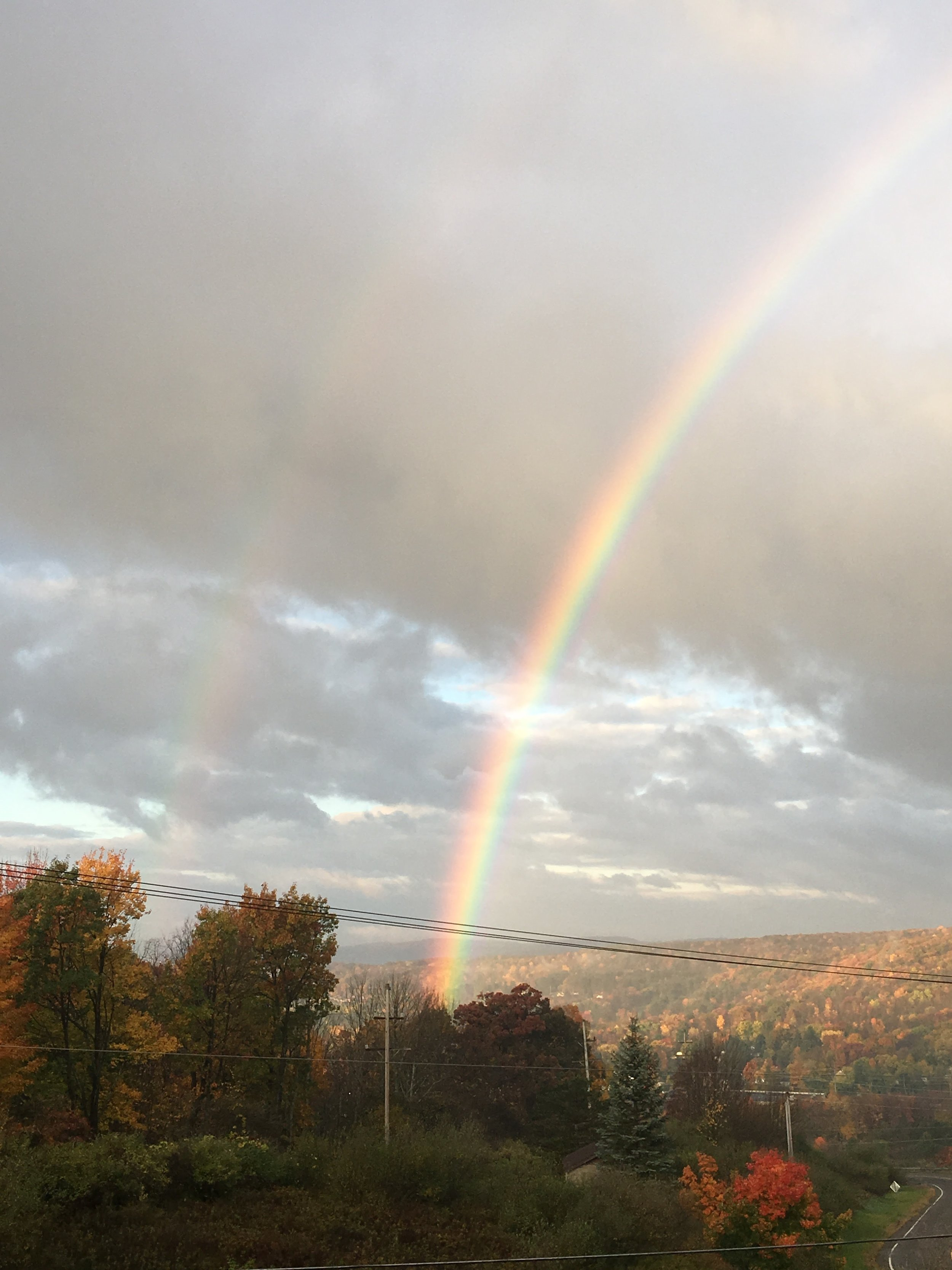 A good sign for our first day in the new office- double rainbow in our new view!
