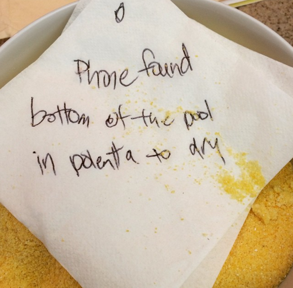 """Urgent message from Caroline the next morning: """"I have some news about your polenta."""""""