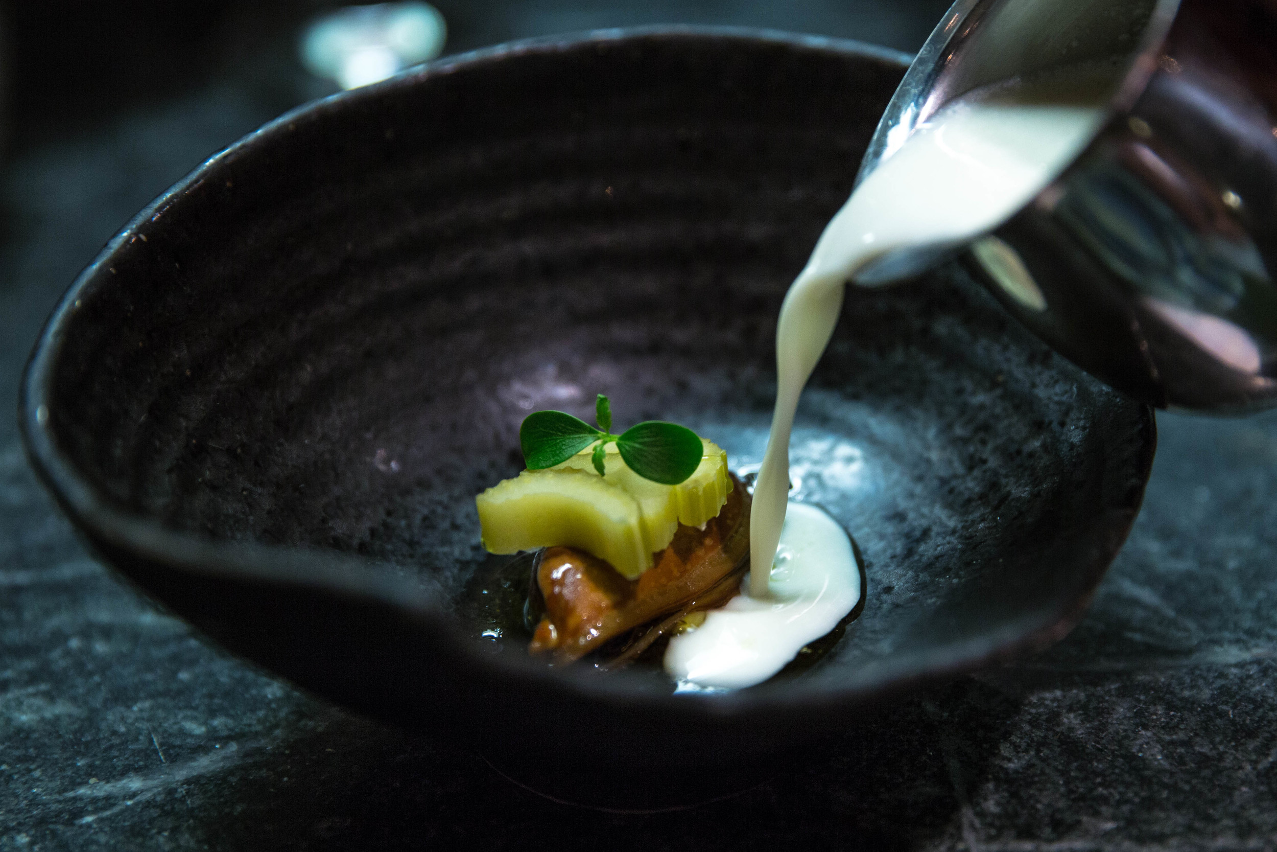 Smoked Mussel, Pickled Celery, Chinese Celery Oil