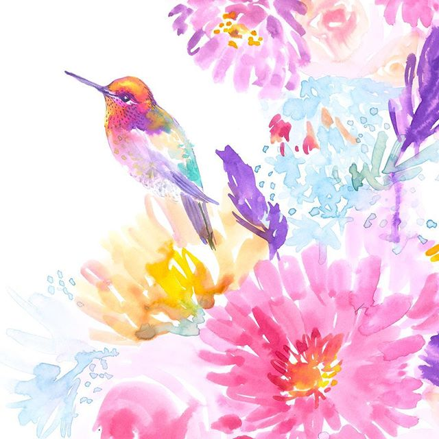 Late summer colors . . . . . #hummingbird #hummingbirdart #hummingbirdlover #watercolor #watercolorart #watercolor_art #illustration #artistsoninstagram #floral #floralart