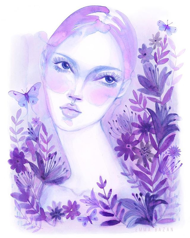 That purple pink haze after a rainstorm 💖 . . #lavenderdreams #lavendercolor #pastel #purple #pastelpurple #amethyst #girlportrait #watercolorpainting #watercolorart #artistsoninstagram #natureart #whimsical #dreamy #floralfriday #watercolor_art #etsyshop #artprints #artprint #illustration #illo #illustrationgram
