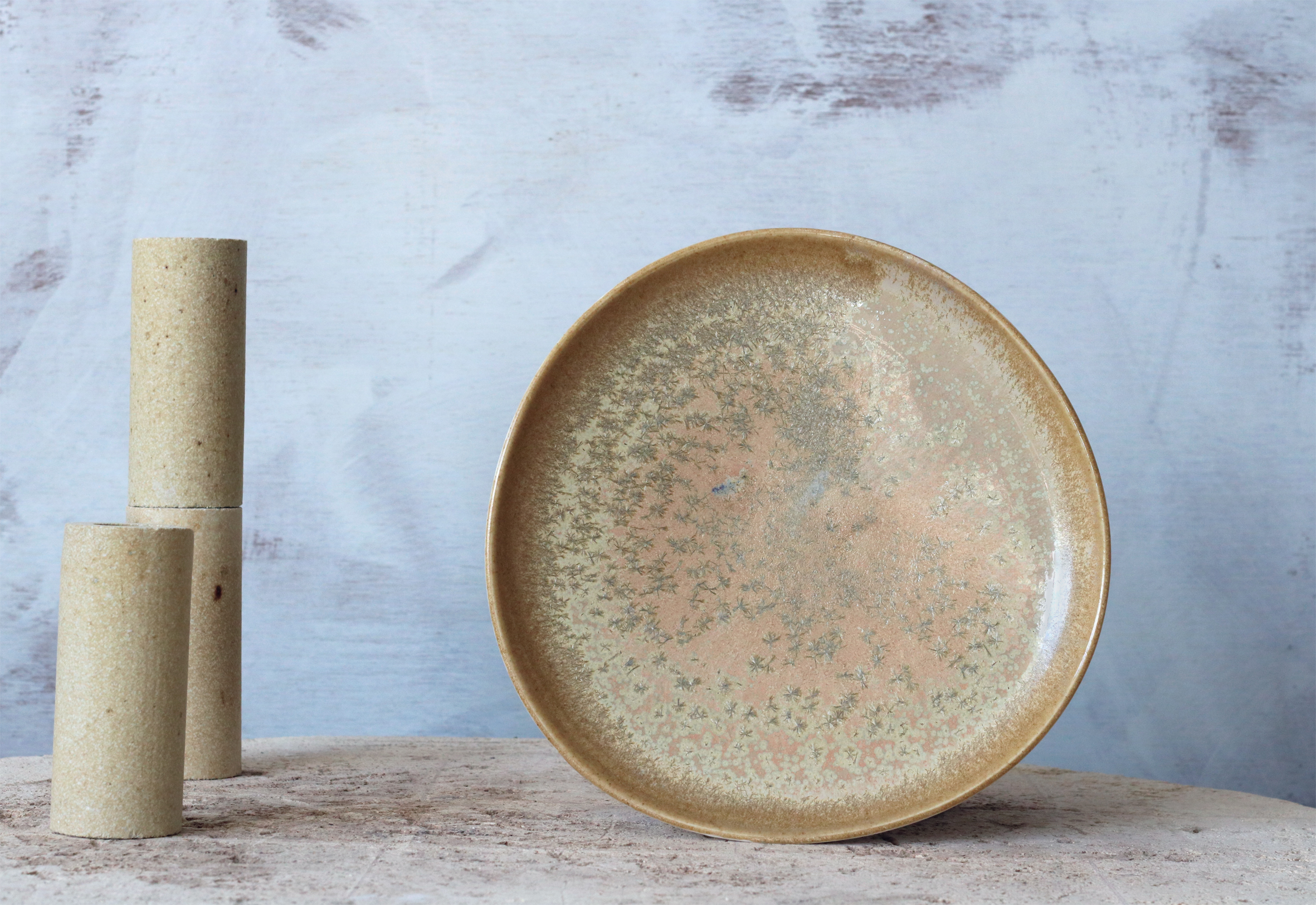 Crystalline glaze on porcelain - one of our material experiments