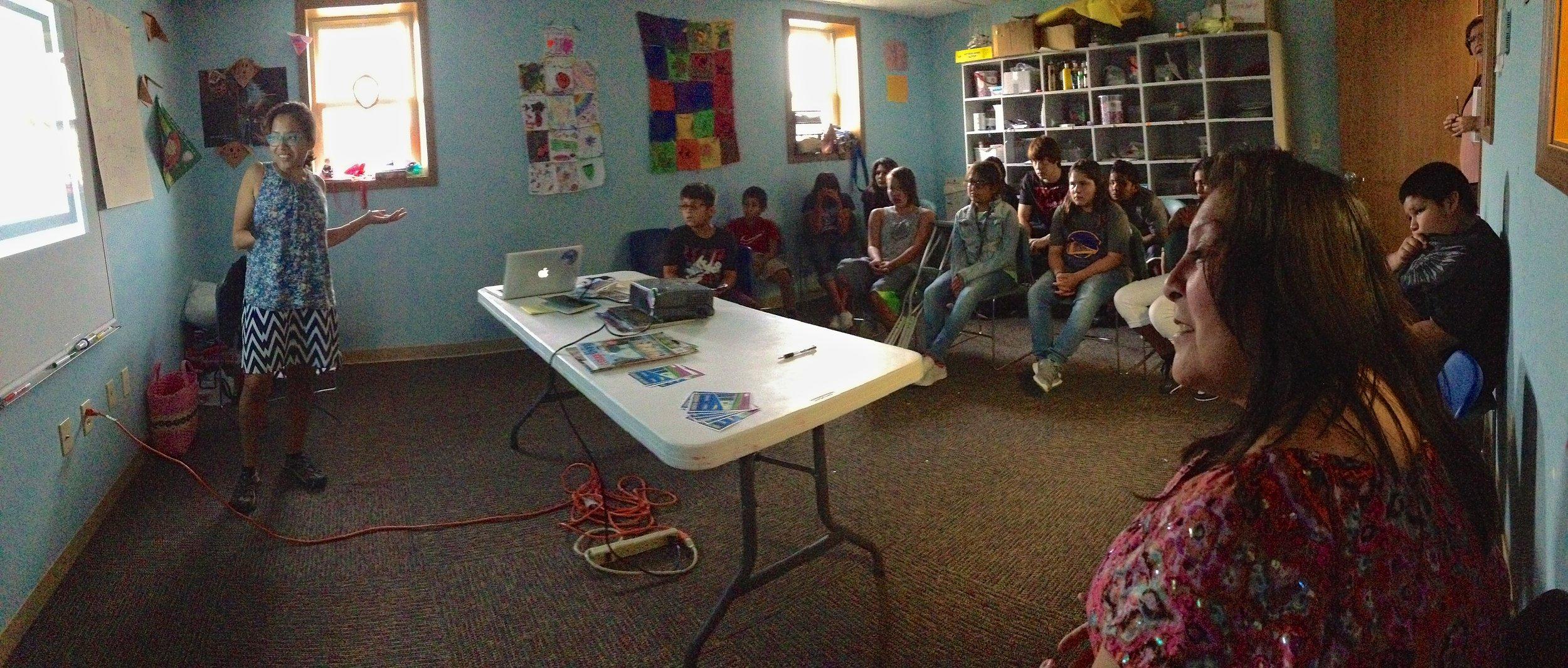Connie Fiorella Fitzpatrick presenting at the Kickapoo Tribe's Boys & Girls Club