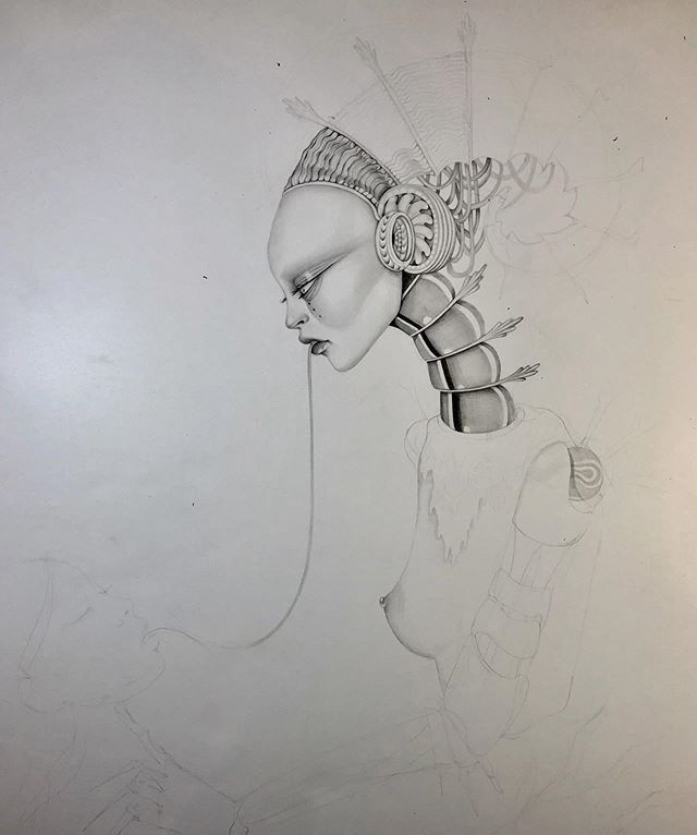 Progress on this new large scale drawing I started last night and I'm so excited to see how it turns out. Wanted to share my progress, I try to sketch out super minimal and not be a control freak about it and let it come out the way it wants to come out. Beginnings are scary and so exciting and I missed working with pencil so much.