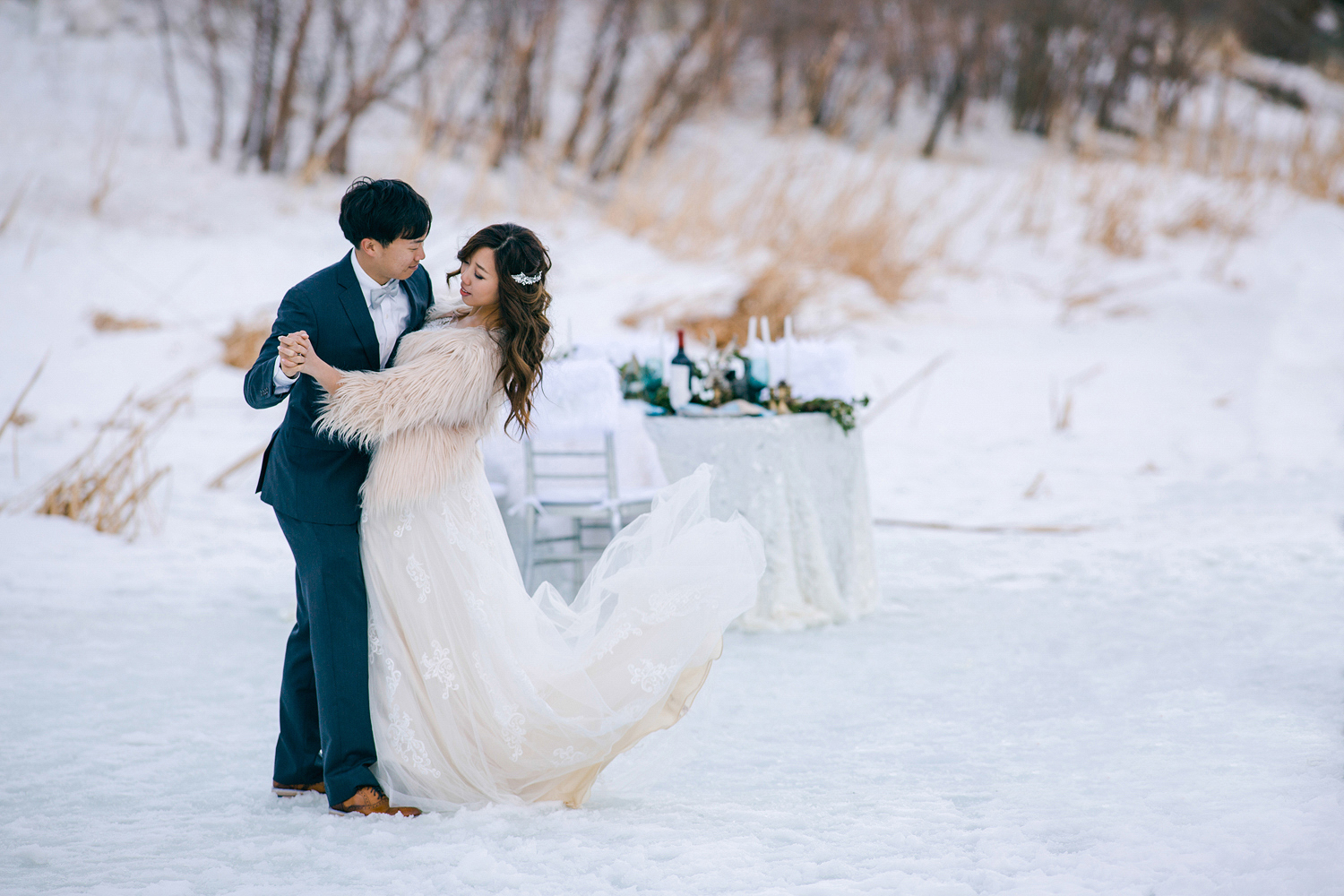 winter engagement photo at mountain high