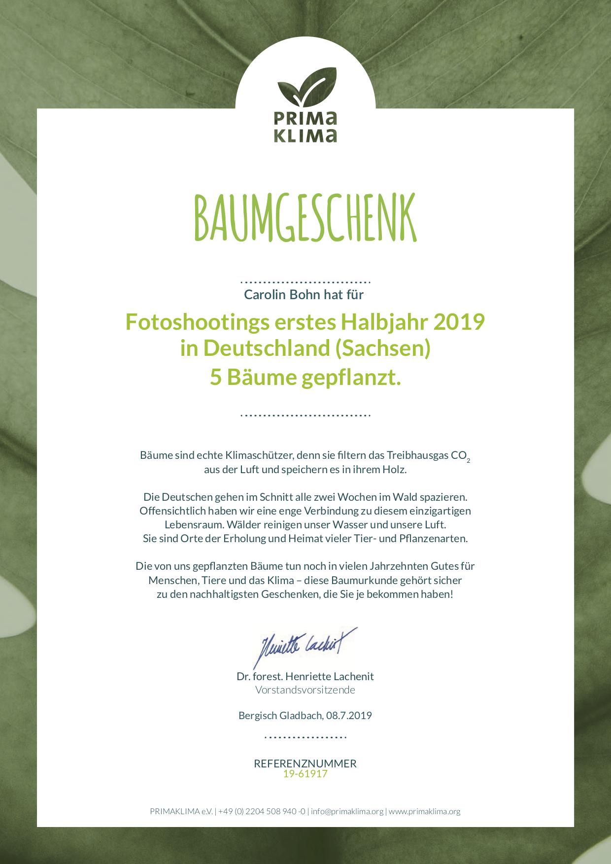 Urkunde Spende erstes Halbjahr 2019 an PRIMAKLIMA e.V.
