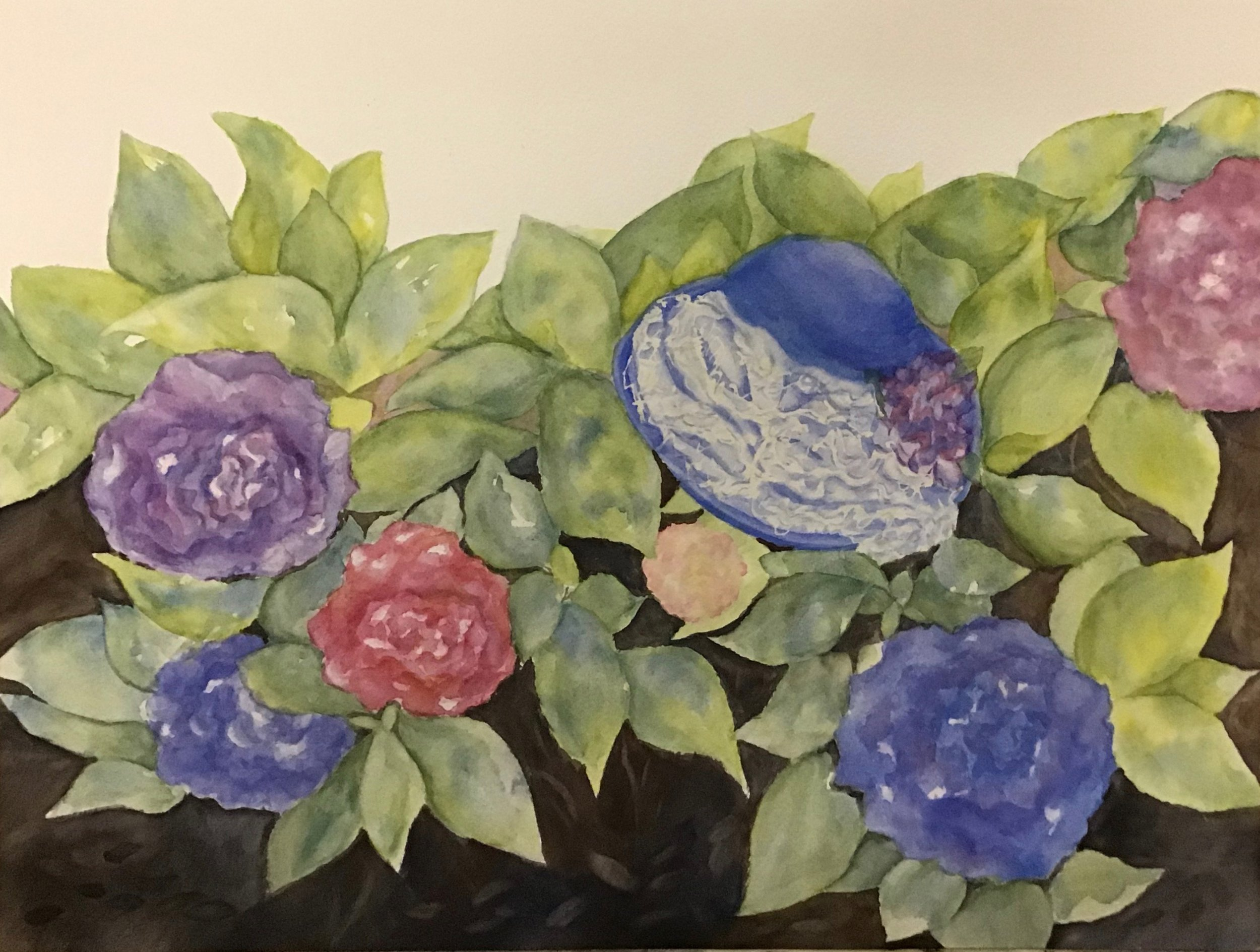 Adding he darks helped to highlight the leaves and the flowers as a lot was in the mid value range