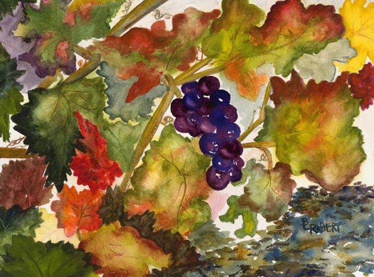 Autumn Vineyard, Original watercolor