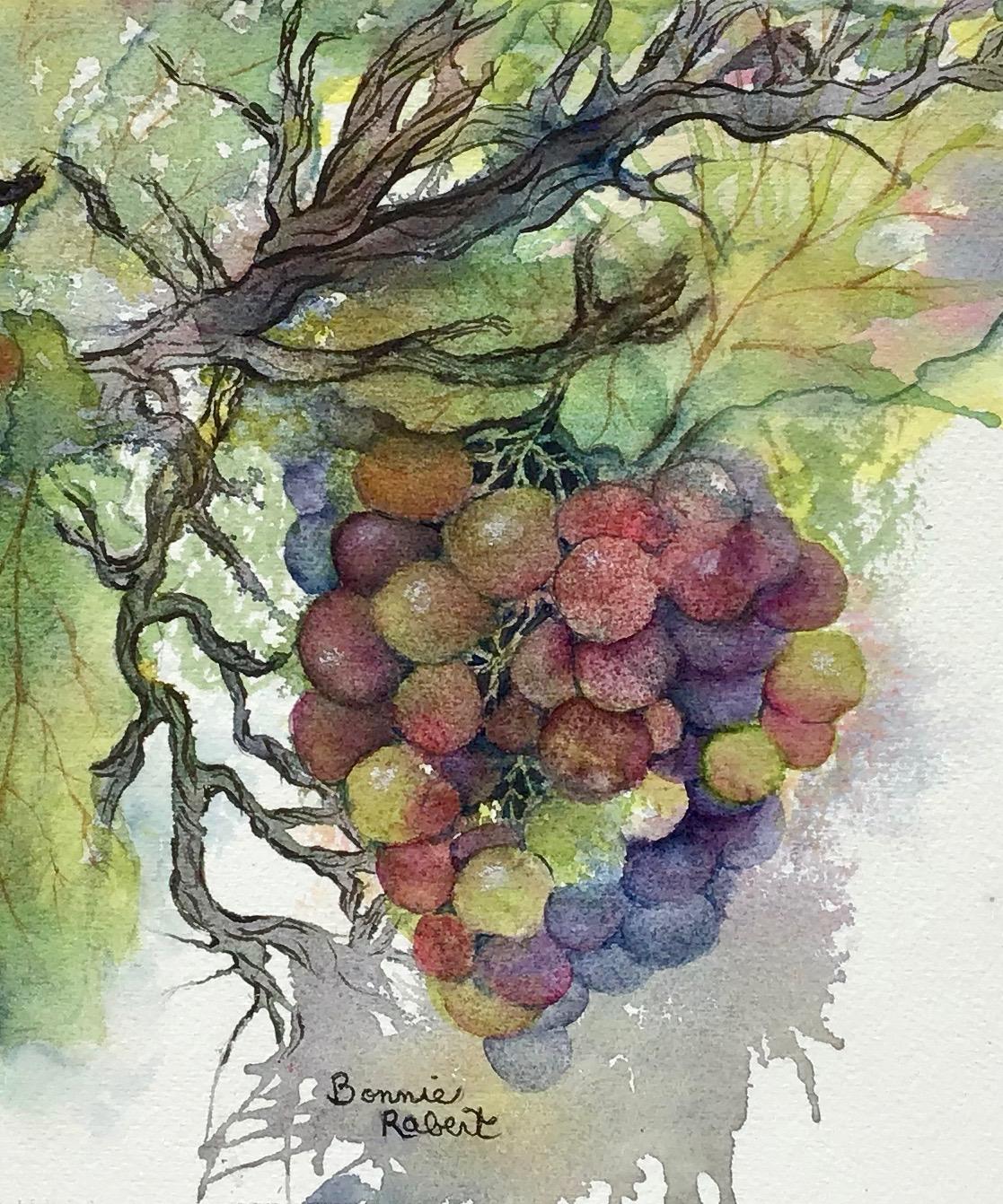 Grapes on the Vine, Original Watercolor