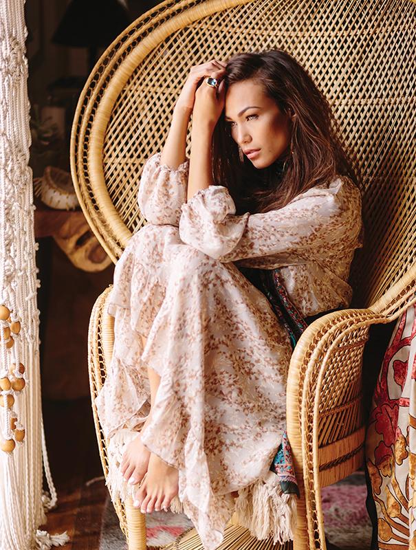 Calypso St. Barth chiffon maxi, Bonita. Paisley silk scarf, embroidered throw, Tienda Ho. Blue Topaz ring, ARA Collection.