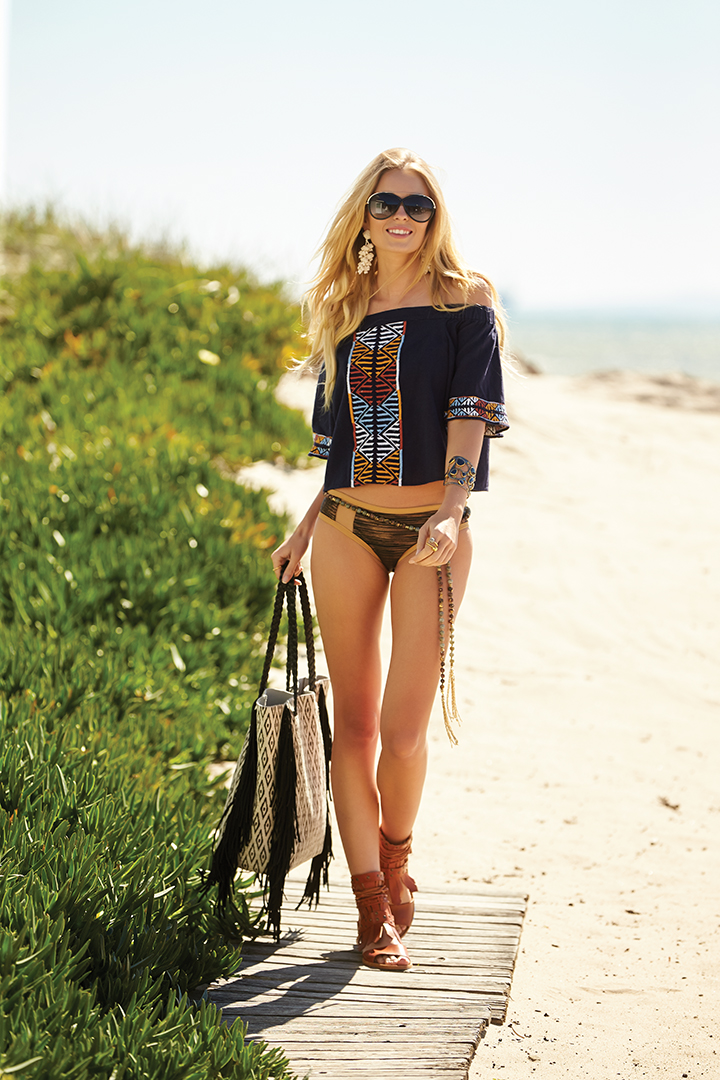 Off-shoulder top, WHISKEY+LEATHER. Bikini bottoms, BONITA BEACH. Bag and shoes, ROMP. Sunglasses, ROWAN. Cuff bracelet and rings, ARA COLLECTION. Earrings, ALLORA BY LAURA. Lariat necklace (worn as belt), BLANKA.
