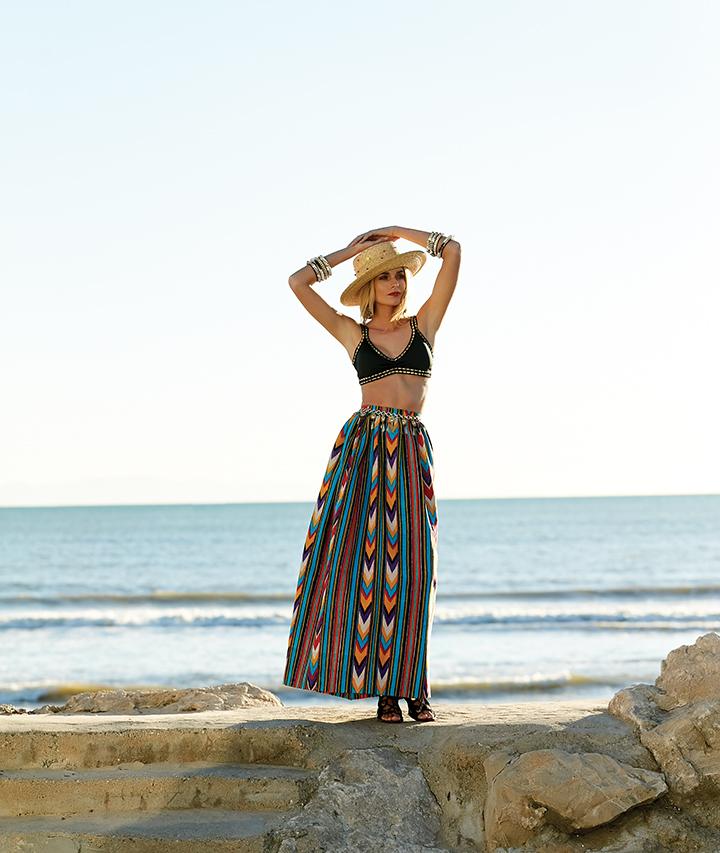 Vintage YSL skirt, SEPI. Bikini top, BIKINI FACTORY. Hat, earrings, and shoes, ALLORA BY LAURA. Bangle bracelets, TIENDA HO. Belt, WHISKEY+LEATHER.