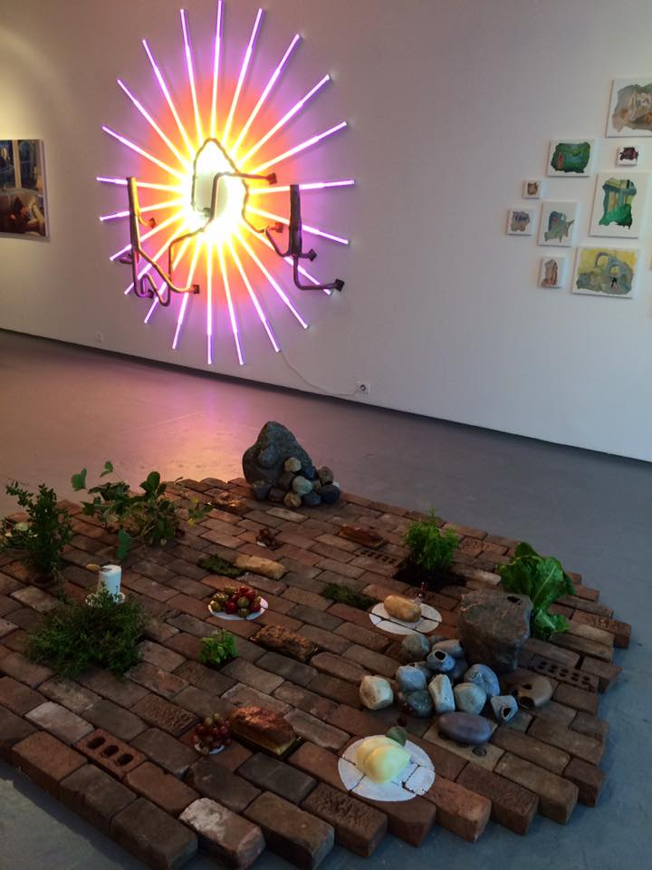 Artist John Spano displayed his light piece,  The Everglow 10/24/24 , 2016. notthatjohnspano.com  Artist Ruth Borgenicht's interactive floor piece,  Eat Where You Walk/Walk Where You Eat , 2016. ruthborgenicht.com
