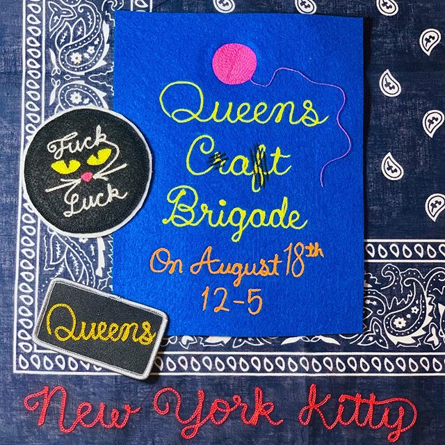 I'll be stitching up custom patches, bandanas and your favorite denim next Sunday at the VFW in Astoria. This months @queenscraftbrigade is cat-themed and if a kitten starts playing with some of my thread irl, I'll probably cry. Don't miss it!