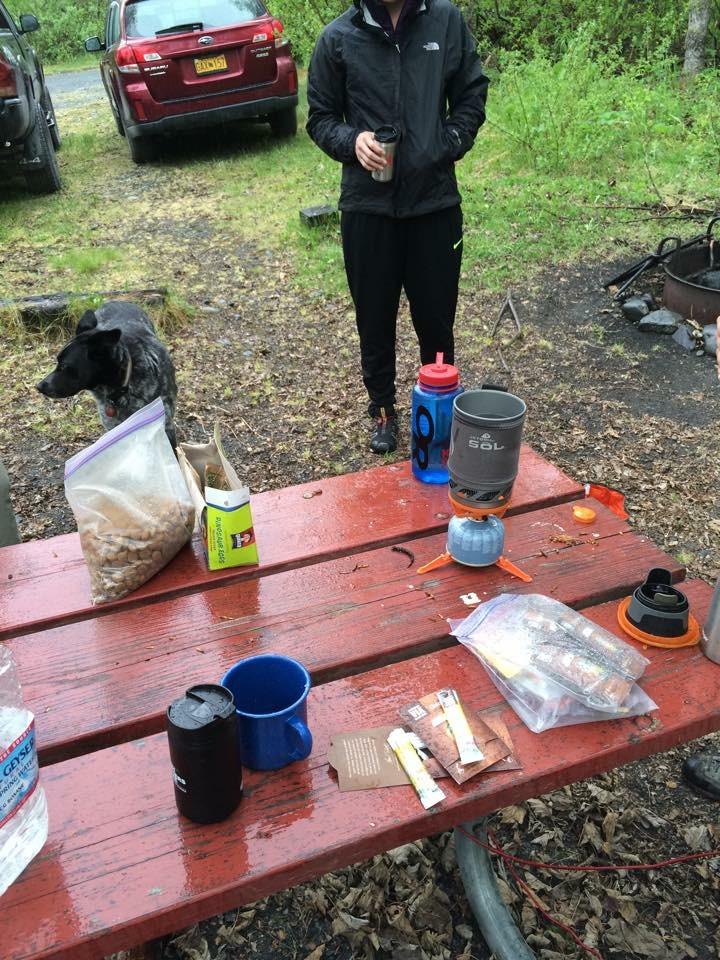 Making Coffee In the Rain in Valdez
