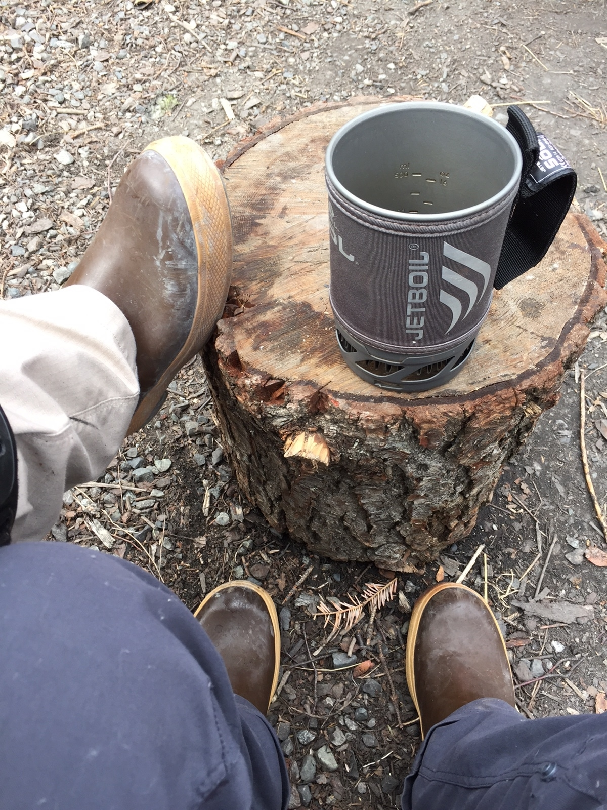Just being Alaskan as fuck in our Xtratuff boots with our Jetboil