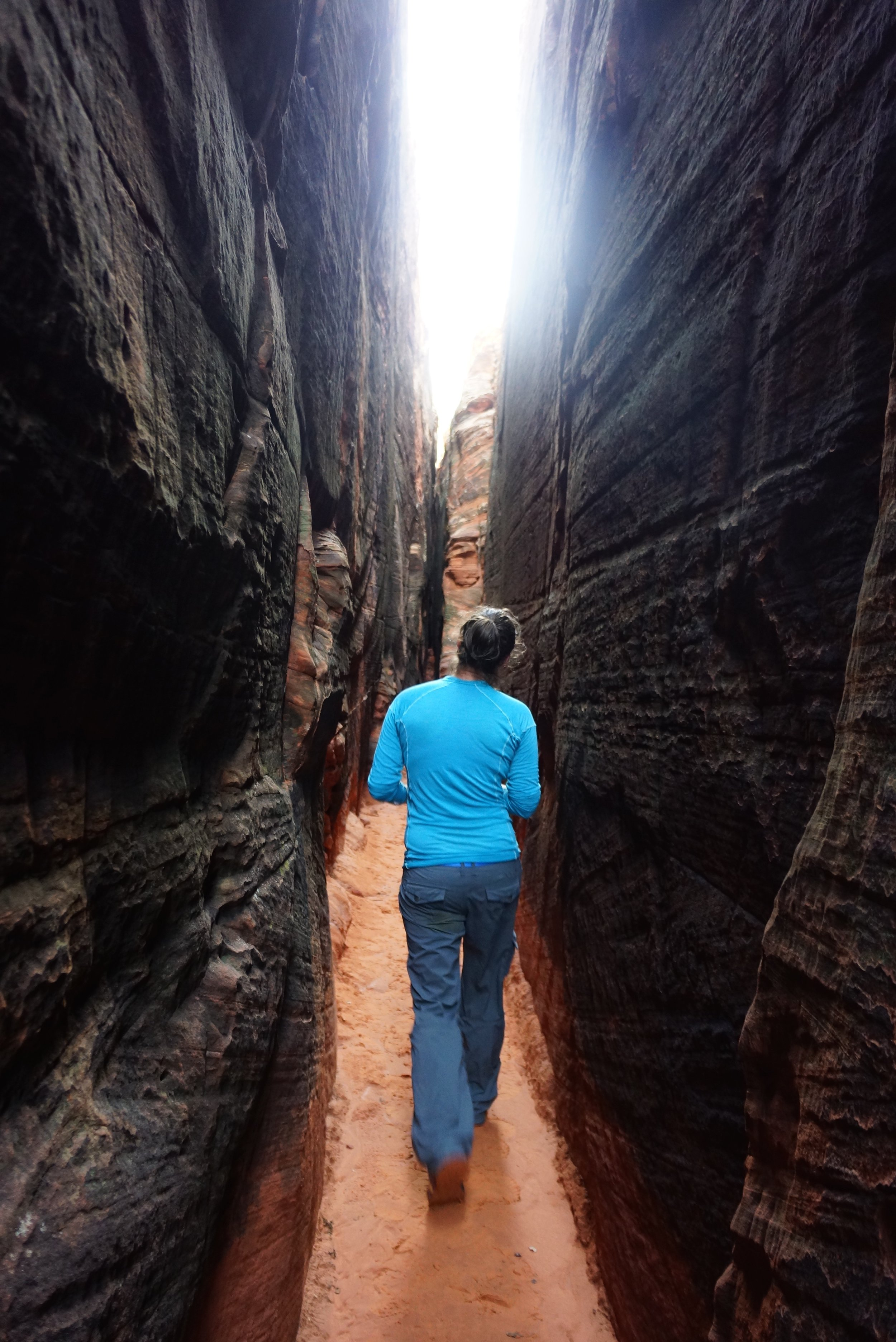 One of the slot canyons with petroglyphs