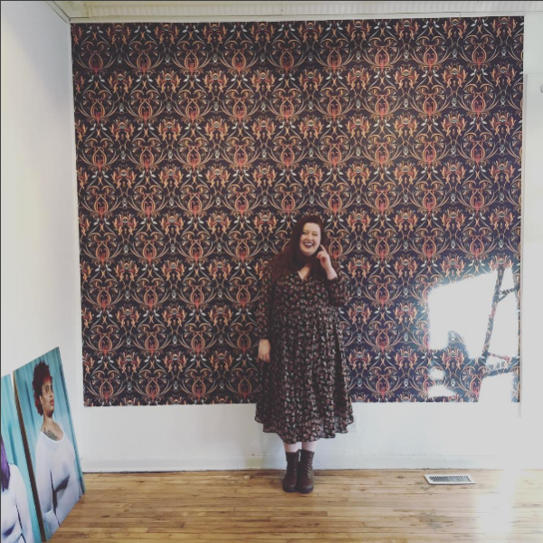 Olivia Doyle at the FemFest Gallery Exhibition at Groovy Dog Gallery. Image from Olivia's Instagram.
